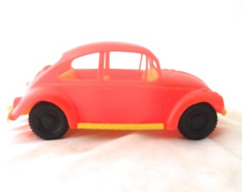 Bright Orange and Yellow Plastic Volkswagen Bug Toy Car, Vintage VW Beetle Toy (A1)
