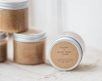 Coconut and Brown Sugar Scrub 4oz -  Set of 48 Favors-  Great for weddings, baby showers, bridal showers, client gifts