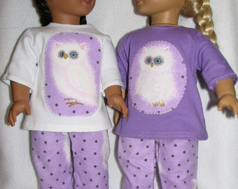 "18"" Doll  Pajamas /  matching doll pillowcase with pillow / matching girl pillowcase OWL print"