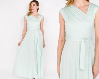 70s Maxi Dress | Mint Green Jersey Knit Long Evening Party Dress | Small