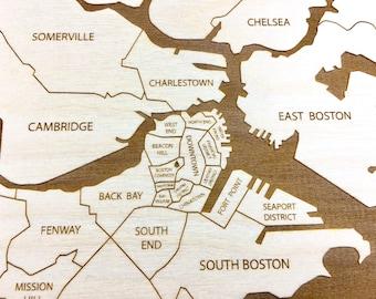 Boston Map, Neighborhood Map Massachusetts Engraved Framed Wood Puzzle, Etched Atlas Birthday Graduation Wedding Anniversary Christmas Gift