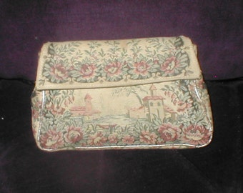 Vintage 1930's PETIT-POINT tapestry Evening Clutch Purse