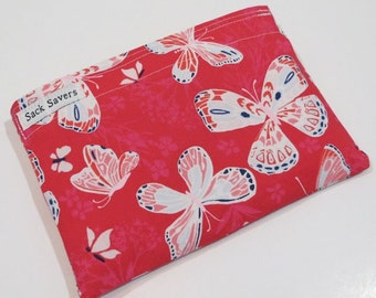 Reusable Sandwich Bag or Reusable Snack Bag Pretty Pink Butterfly Snack Sandwich Bag