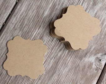 12 Kraft Brown Tags Invitation Card Making Die Cut Embellishments - Great for gift or Belly Band - shimmery or matte cardstock