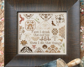 Coffee Quaker; the Magical Elixir Series #2 : Cross Stitch Pattern by Heartstring Samplery