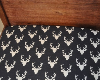 CUSTOM Crib Sheet in BUCK HEAD Organic Cotton Fabric, Fits Standard Size Crib or Toddler Bed Mattress