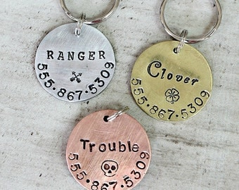 Medium Dog Tag / Large Dog Tag / Simple Pet Tag / Hand Stamped / Not Engraved / Copper / Brass / Aluminum / Unique pet tag / Fun / A072