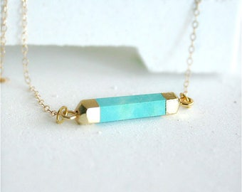 Stone Bar Necklace, Turquoise Necklace, Blue Stone Bar Necklace,  Stone Pendant, Horizontal Bar Necklace, Bar Necklace Layering, Gold filled