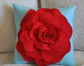SALE Flower Pillow Red Rose on Robins Egg Blue Accent Pillow