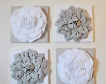 """HALLOWEEN SALE Wall Decor -SET Of Four Gray and White Flower Wall Hangings 12 x12"""" Canvases Flower Wall Art-"""