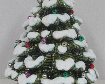 "Ceramic Christmas Tree Music Box that plays ""We Wish You a Merry Christmas"" ~ 9"" tall"