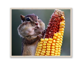 chipmunk eating corn- Photo on Wood, Custom Photo Print, Picture on Birch Wood, Image on Plywood, Custom Photo Prints W019