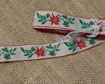 Vintage Ribbon Trim with Red Flowers and Green Leaves - 3 yards