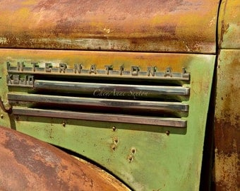 International Bk-10 Pickup vintage memorabilia nameplate Rusty Green gold farm pickup New Mexico field giclee photograph