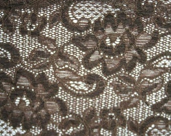 """1 yard Dark Coffee  Brown  galloon floral scalloped stretch lace 5"""" wide s379"""