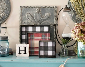 Buffalo Plaid Sign - Plaid Frame - Plaid Sign - Wooden Sign - Handmade Sign - Buffalo Check Sign - Mini Wooden Sign