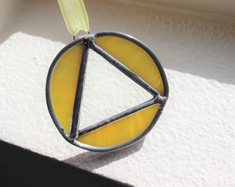 RECOVERY SUNCATCHER-Yellow Sobriety Suncatcher, Soberversary Gift, Gift for Sponsor, Recovery Gift, Milestone Gift, Sobriety Gift, Glass