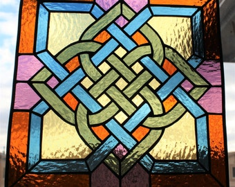 CELTIC STAINED GLASS Window Panel Suncatcher Celtic Knot, Large Suncatcher, Wedding Gift, Under 160, Window Decor, Celtic Knot Stained Glass