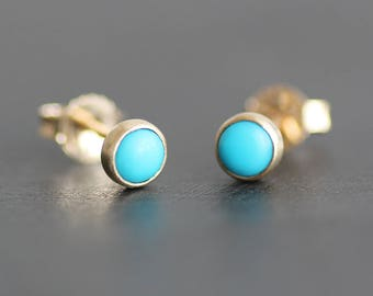 Turquoise Earrings in 14K Solid Gold -4mm Sleeping Beauty Cabochons in Brushed Gold Bezels - Post Earrings - American Southwest Natural