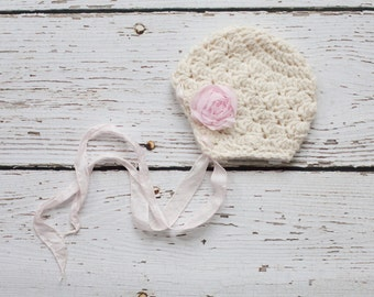 Newborn Girl Hat in Cream with Silk Ties, Crochet Baby Hat, Girl Baby Earflap Hat, READY TO SHIP