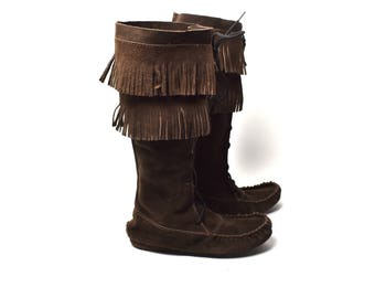 Chocolate Moccasin Boots with Fringe, Size 9