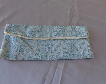 Vintage Blue brocade Oriental Lingerie or Jewelry bag