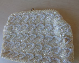 Sequin Purse - Vintage La Regale  Iridescent sequin and white beaded purse or clutch with hidden snakechain gold handle