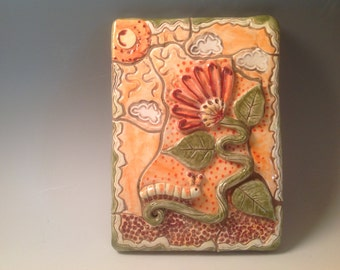 Decorative wall tile/ceramic tile/funky flowers/clay tile/mosaic/mosaic flower/ready to ship