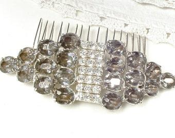 OOAK Vintage Black Diamond Rhinestone Bridal Hair Comb, Gray Art Deco Dress Clip to Hair Accessory, Smokey Headpiece Grey Wedding Hairpiece