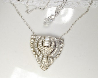 Antique Edwardian / Art Deco Pave Rhinestone Necklace, Vintage Flapper Wedding, 1920s 1930s Crystal Bridal Dress Clip Pendant Great Gatsby