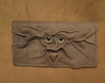 """Grichels leather checkbook cover - """"Wrument"""" 28767 - brownish gray clay with green carousel horse eyes"""