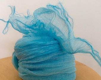 LIGHT SUMMER SCARF, Linen and silk scarf, Fringed scarf, Breezy scarf, Blue wrap