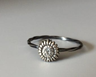 Sunflower Stacking Ring. Sterling silver stacker jewelry mix and match. Hippie flower child jewelry.