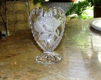 Crystal Heart Vase, Lead Crystal Vase, Germany Glass Vase, Heart Shaped Vase, Home and Living, Home Decor, Vases, Crystal Vase