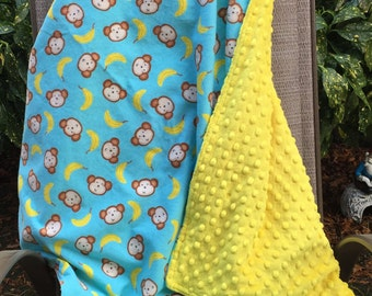 "Baby Blanket - Monkeys and Bananas on Aqua Flannel with Bright Yellow Dimple Minky, 29"" X 35"""