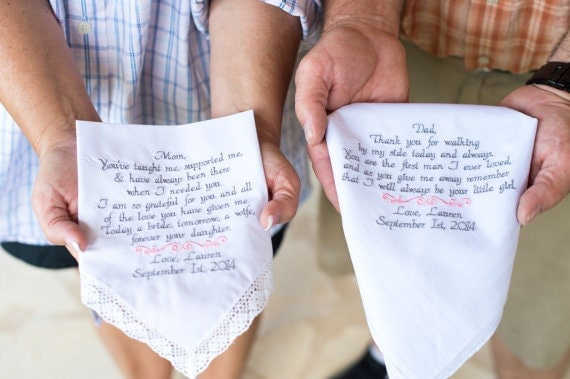 Father Gifts Wedding: Embroidered Wedding Handkerchiefs Mom And Dad Wedding Gifts