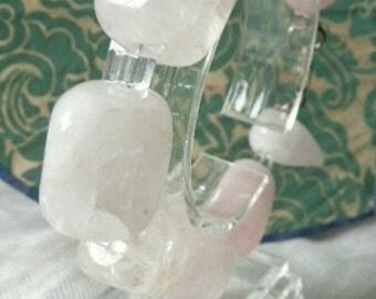 Rose quartz pale rose Bracelet,silver lobster lock.