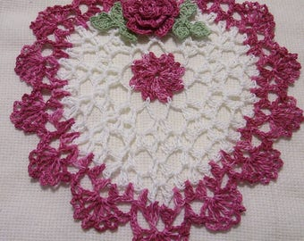 crocheted heart doily hand dyed dusty rose and white  handmade