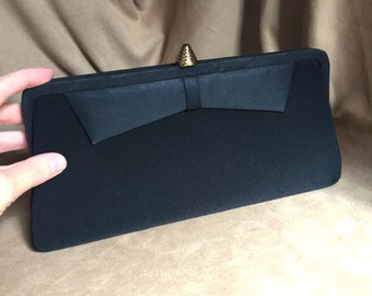 Vintage 60's Black Handbag, Clutch Evening Bag, Vegan Friendly Fabric Purse