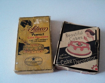 2 Handsome Vintage Ateco Cake Decorating Set 1930s in Original Box