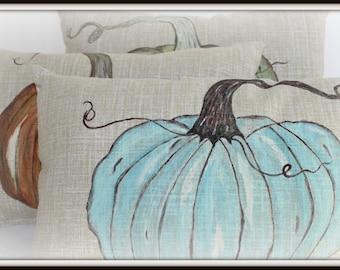 OOAK Handpainted Soft Turquoise Pumpkin Pillow