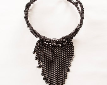 Black Wire Collar with Chain Fringe