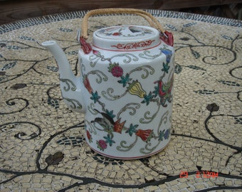 Vintage Chinese Chinoiserie Flowers and Butterflies Teapot - Beautiful