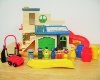 Vintage Fisher Price Sesame Street Clubhouse Set