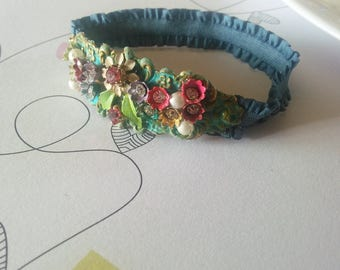 French Denim rose bouquet . vintage jewelry assemblage elastic bracelet