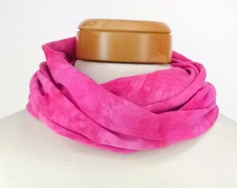 Cyclamen Pink Infinity Scarf, Bamboo Jersey Scarf, Hand Dyed Scarf, Neck Wrap