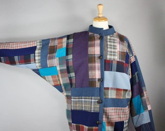 Women's Wool Patchwork Bomber Jacket, Spring Jacket, Modern Art, Batwing Jacket, Vintage 80s, Unique Rare Fashion, Women's Large