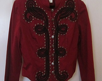 "VTG.  "" Panhandle Slim"" USA Western Denim Unlined RED Jacket with Blk Trim & Studs  Size Medium"