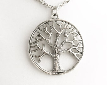 Tree of Life Pendant Necklace / Pick Your Length / Antique Silver Large Tree Lover Charm Bridesmaids Wedding Bridal Party Favor Gift Rustic