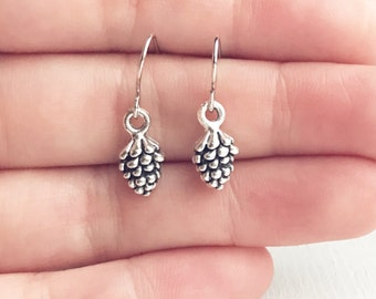 Pinecone Earrings / Forest Lover Gift Small Everyday Bridesmaid Bridal Party Wedding Favor Themed Boho Pine Tree Camping Lover Rustic Silver